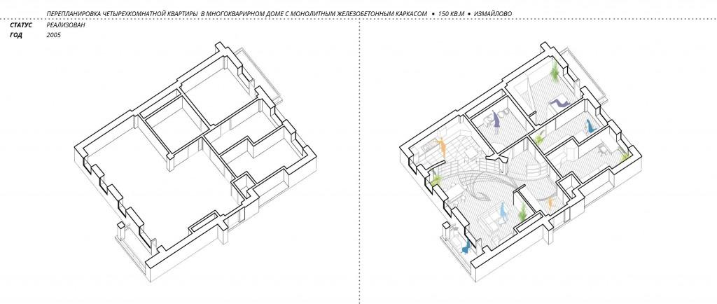 Проект перепланировки 4-х комнатной квартиры в многоквартирном доме в Измайлово