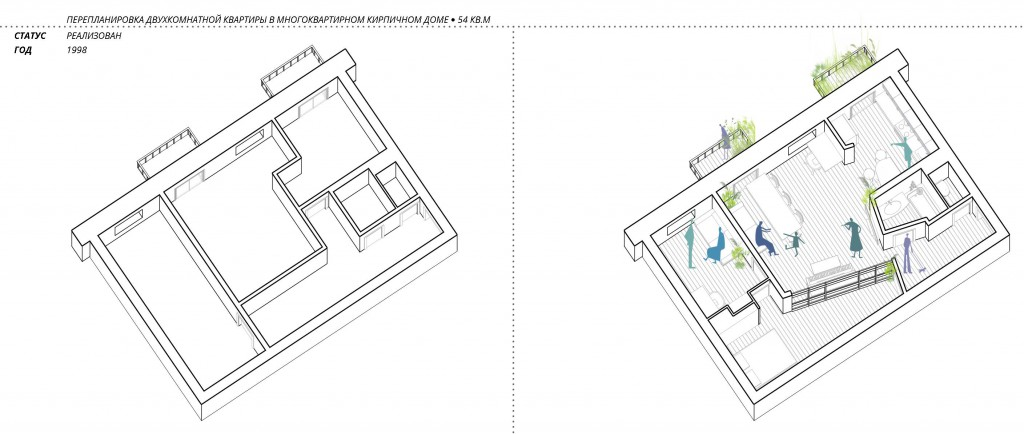 Перепланировка 2-х комнатной квартиры в кирпичном доме